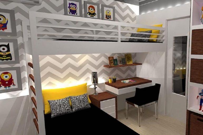decoração com beliche com escrivaninha para quarto de menino
