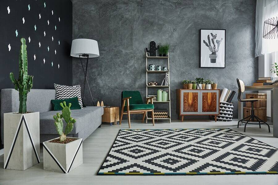decorating with an industrial-style living room with concrete wall burnt