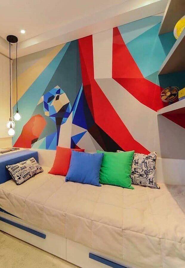 decoração com parede colorida para quarto de solteiro com pendente minimalista Foto Pinterest