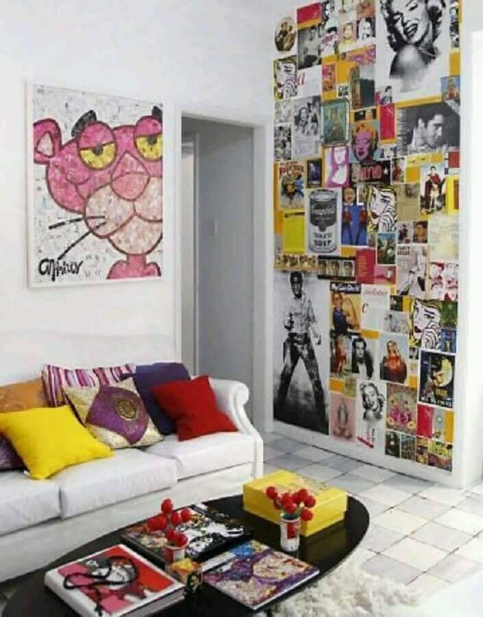 decoração jovem com parede com colagens Foto Pinterest