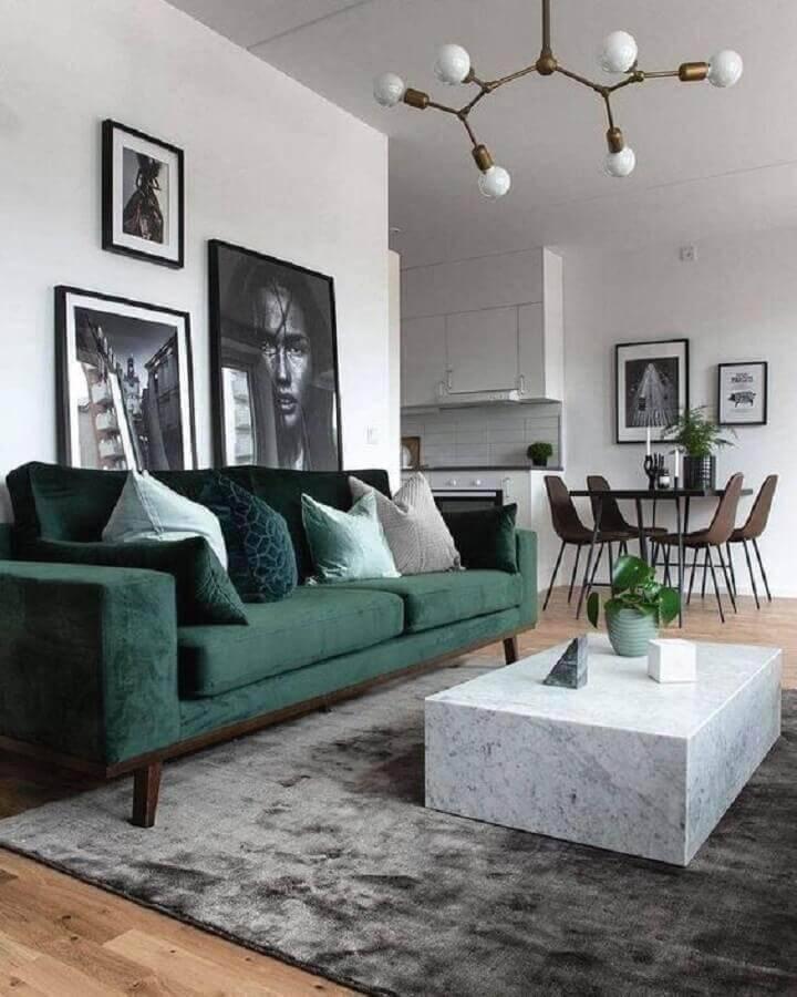 decoração moderna para sala com sofá verde e tapete cinza Foto Ten is Extreme Shop