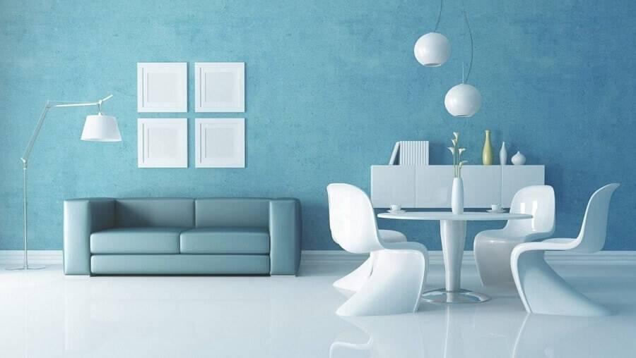 decoração monocromática para ambiente azul Foto Entenda Antes