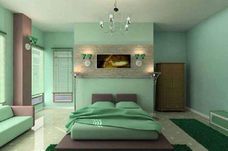 decoração monocromática para quarto todo verde Foto RedLar