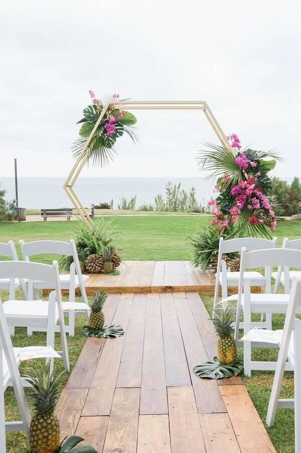 decoration for modern and delicate outdoor wedding ceremony Foto La Fleur