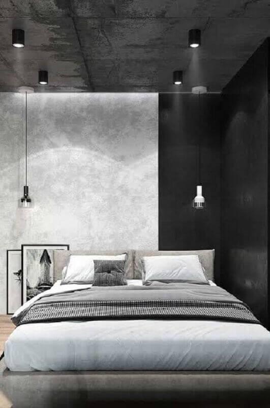 decoração para quarto com estilo industrial com parede de cimento queimado Foto Home Garden And Kitchen