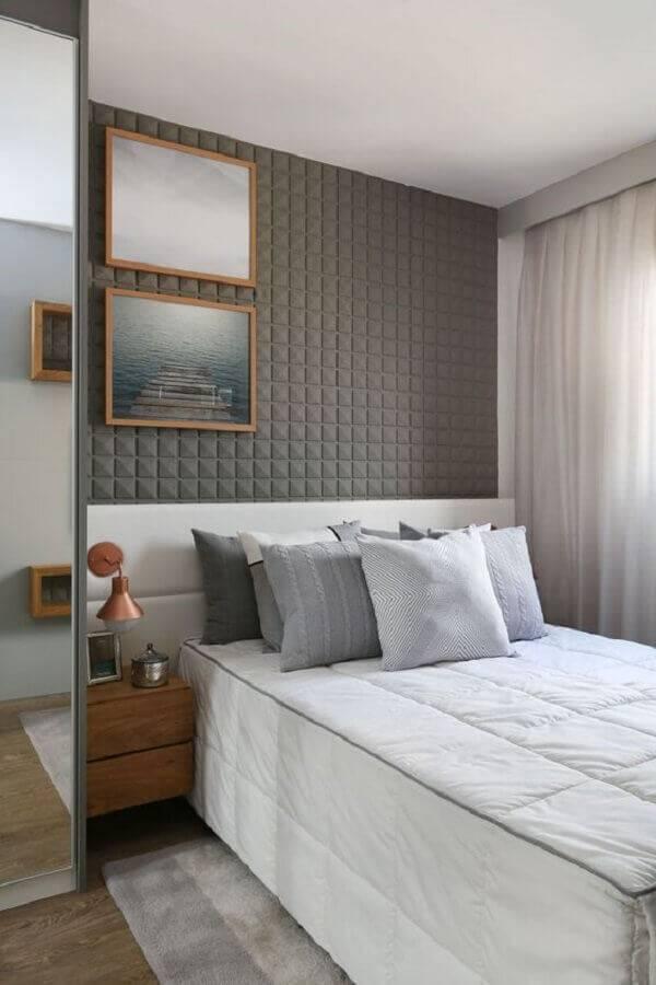decoração para quarto moderno com revestimento 3d Foto Sesso e Dalanezi Arquitetura + Design