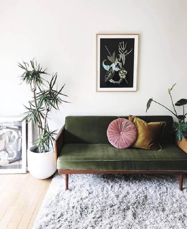 decoração para sala com sofá verde Foto Pinterest