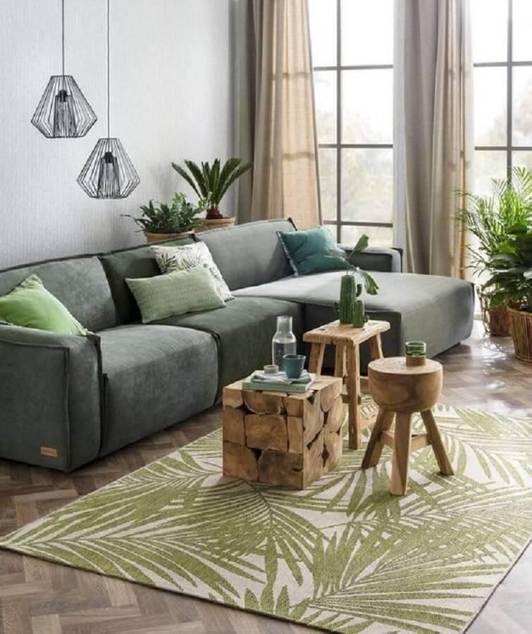 decoração para sala com sofá verde e pendente aramado Foto Pinterest