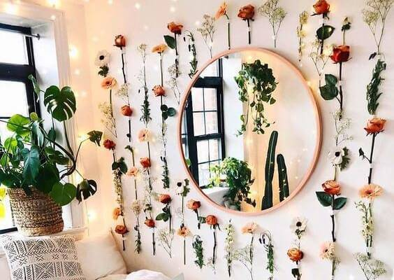 Decoração com flores artificias em casa