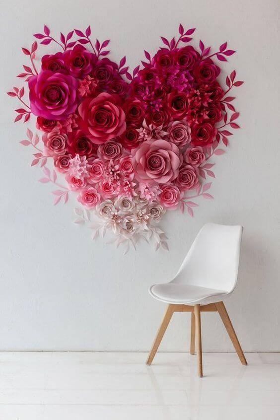 Decoração de casa com flores de papel