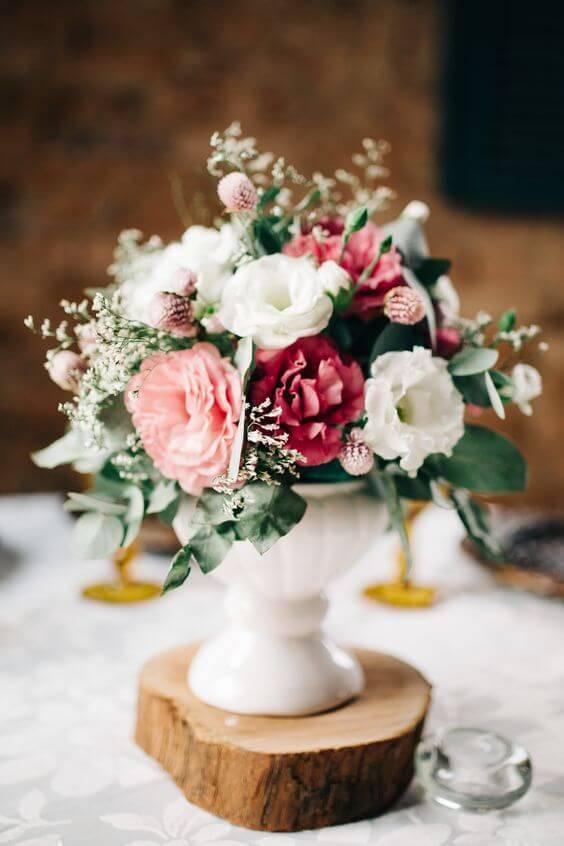 Flores no centro de mesa