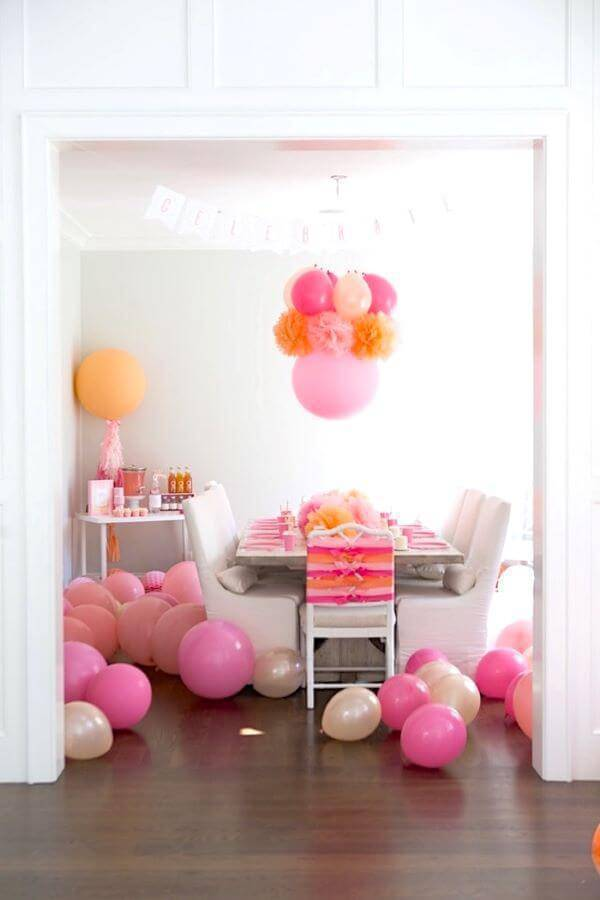 Festa em casa rosa e laranja