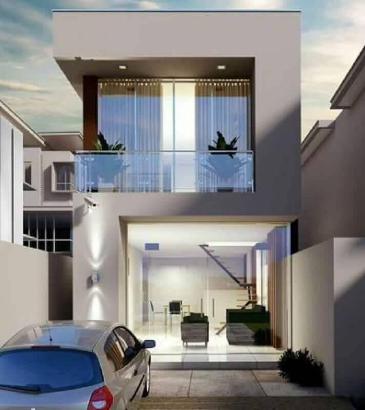 fachada de casa moderna com guarda corpo de vidro para sacada Foto Pinterest