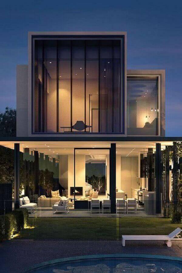 fachada de casas lindas e modernas toda de vidro Foto Decor Steps