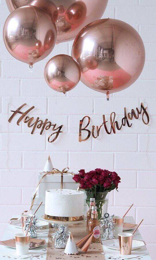surprise birthday party decorated with details in rose gold Foto Pinterest