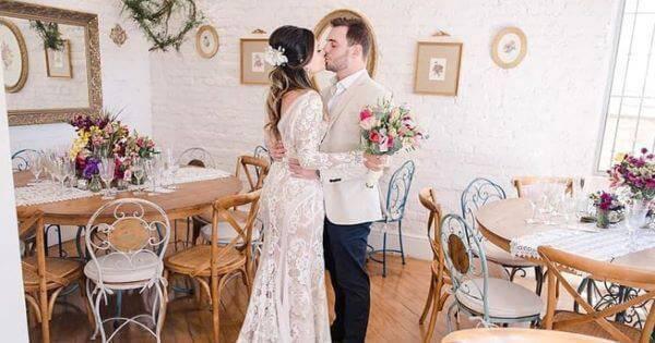 Festa em casa para mini casamento