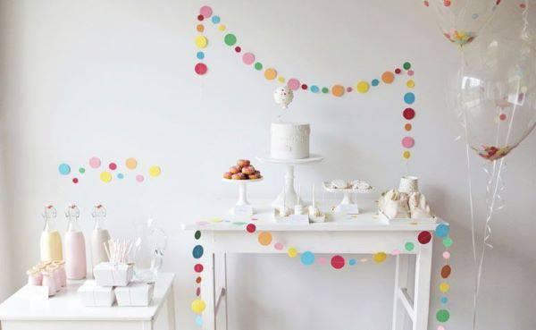 Festa em casa clean e linda