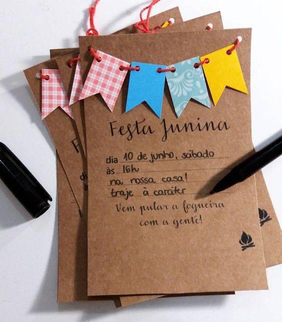 Convite para festa junina em casa