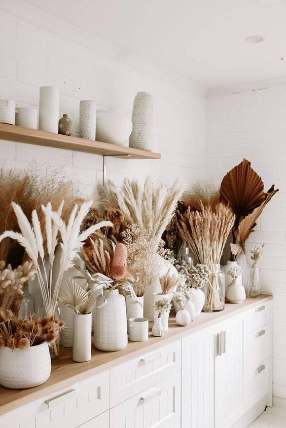 flores secas - balcão com flores secas