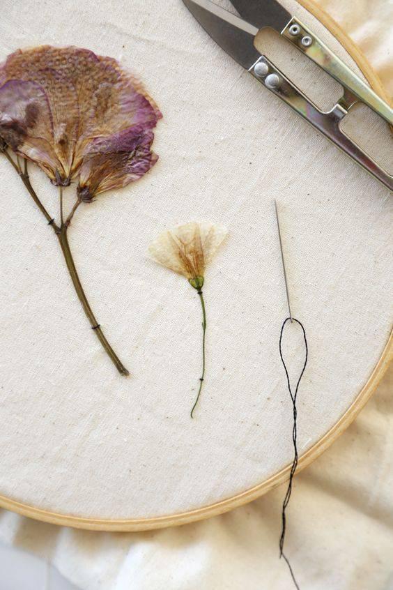 flores secas - flores secas em bordado