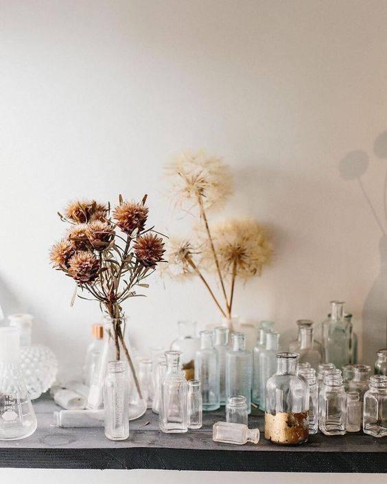 flores secas - flores secas em garrafas