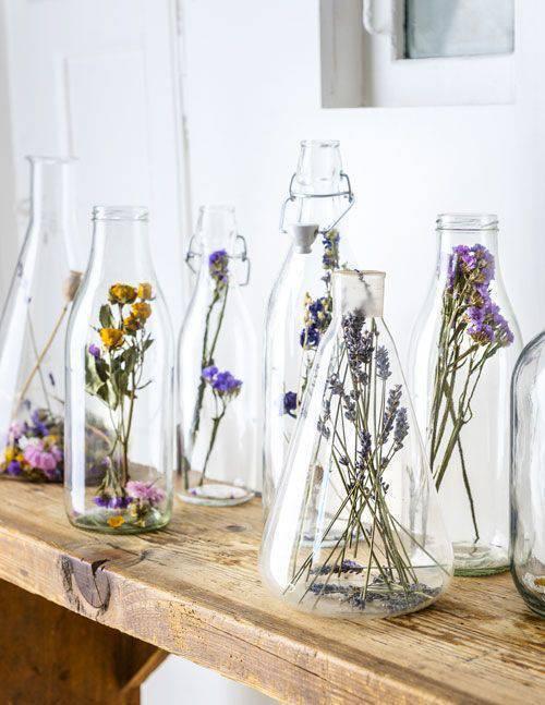 flores secas - garrafas com flores secas