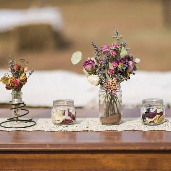 flores secas - mesa com flores secas