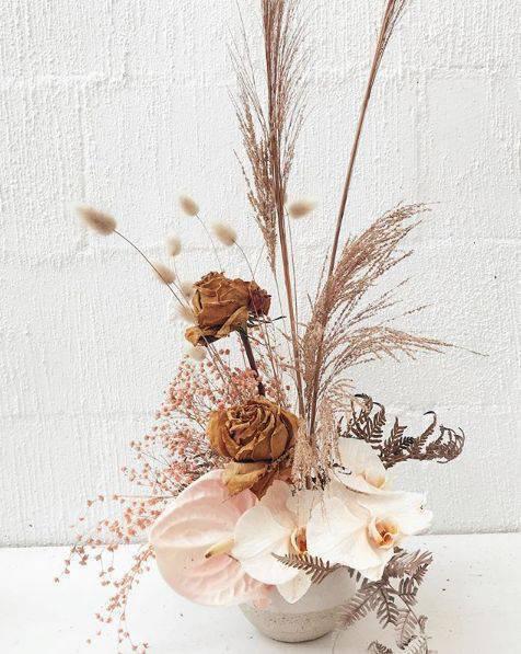 flores secas - vaso de flores secas