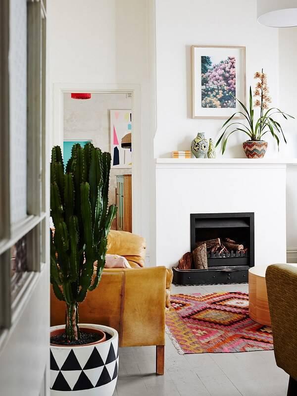 Sala de estar com lareira e vaso com diferentes tipos de cactos