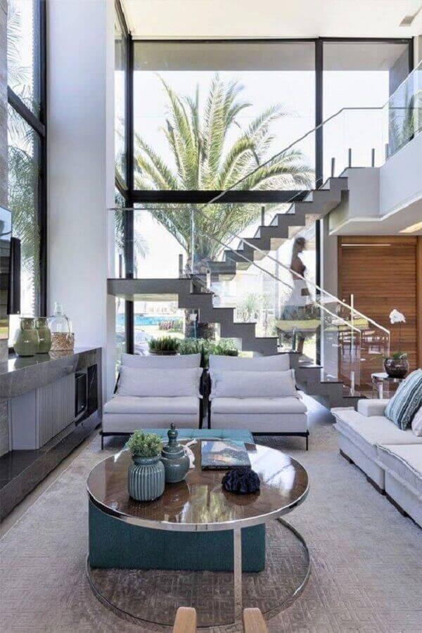 guarda corpo de vidro e alumínio para sala com mezanino Foto Pinterest