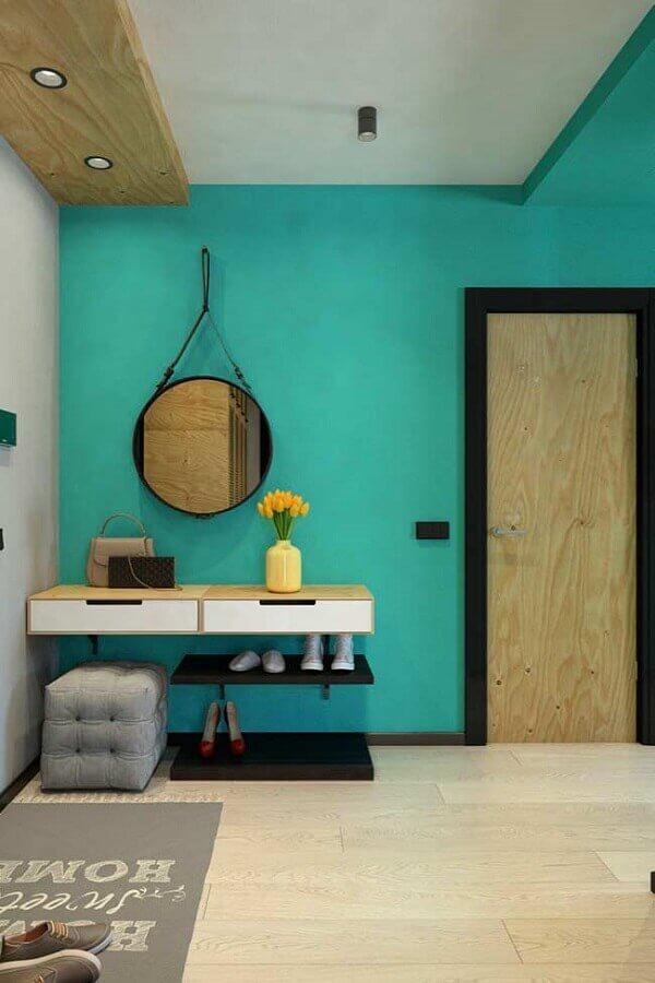 hall de entrada com parede azul tiffany Foto Pinterest