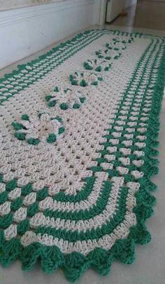 Jogo de tapete de crochê para cozinha simples e verde