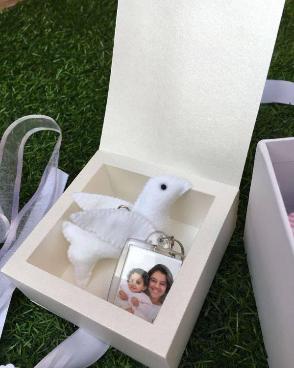 Lembrancinhas de batizado personalizadas com foto dos padrinhos