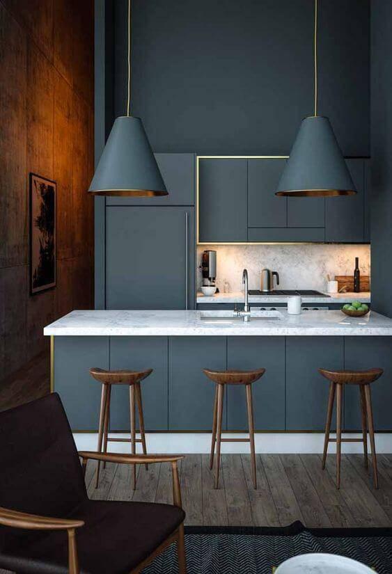 Lustre azul para cozinha americana