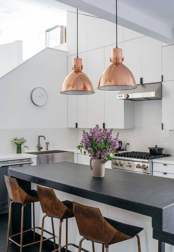 Lustre para cozinha com rose gold