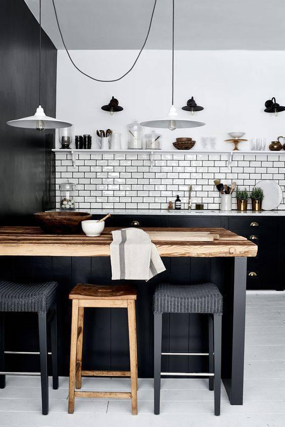 Lustre para cozinha moderna em preto e branco