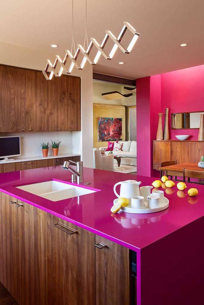 Lustre para cozinha rosa e moderna