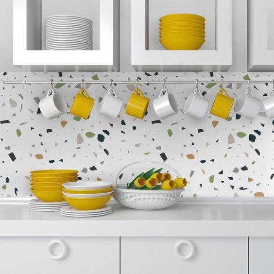 marmorite - parede de cozinha com marmorite