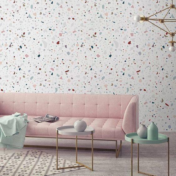 marmorite - sala de estar com parede de marmorite