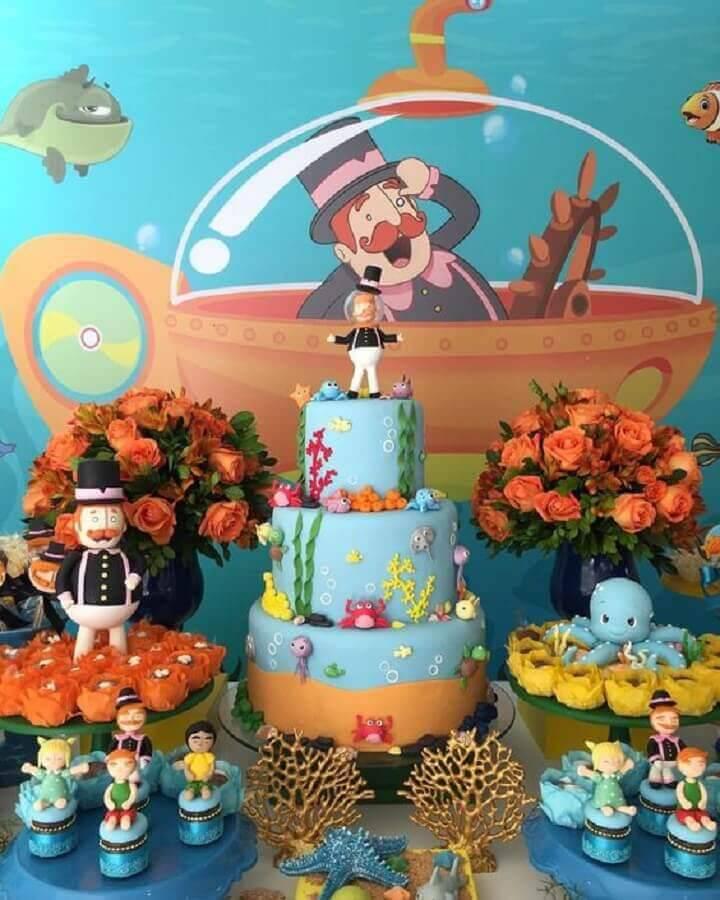 mesa decorada para festa mundo bita no fundo do mar Foto Fazer em Casa