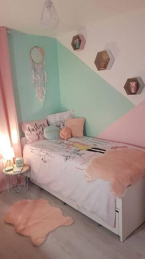 modelos de quarto com decoração jovem e parede colorida Foto Pinterest