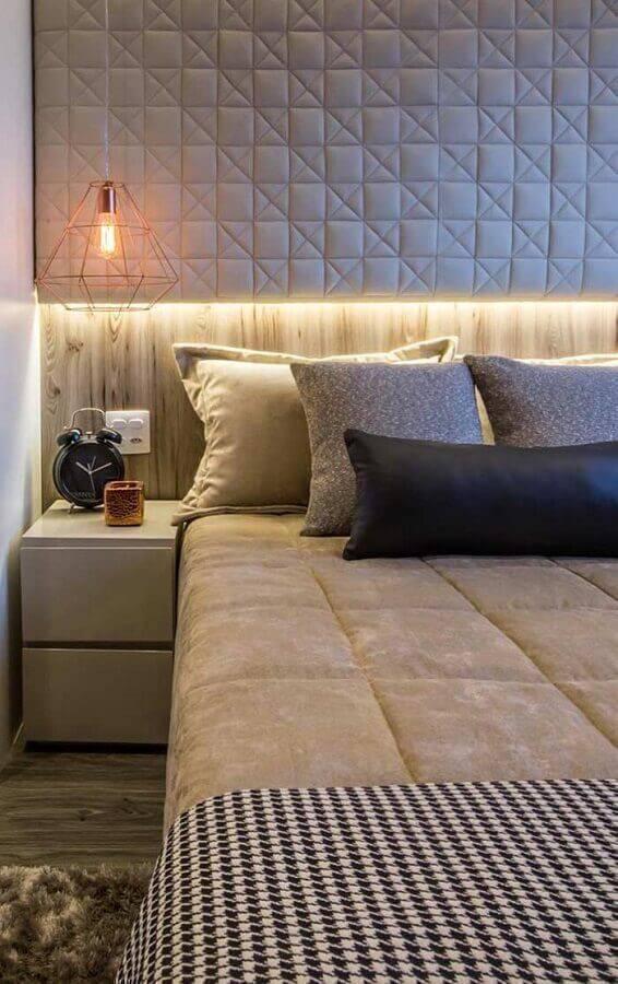 modelos de quarto moderno com revestimento 3d e luminária aramada Foto Home Fashion Trend