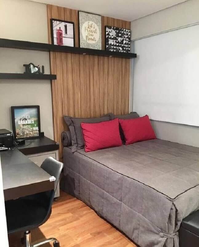 modelos de quarto simples decorado com revestimento de madeira Foto Pinterest
