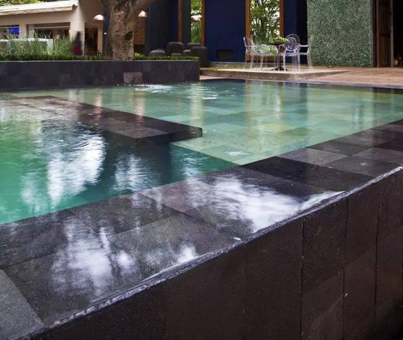pedra para piscina - pedra escura para piscina