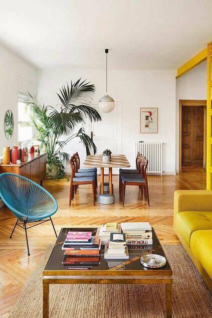 pisos antigos - piso de taco em sala de estar