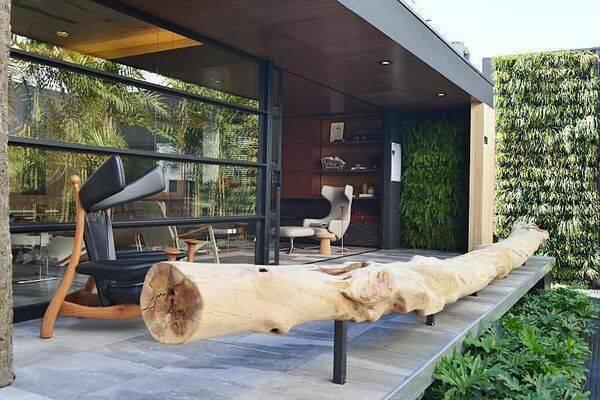 poltrona de madeira - poltrona de madeira e couro