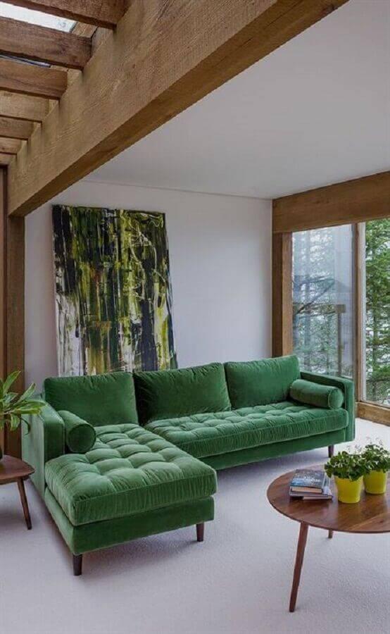 sala decorada com sofá verde Foto Article
