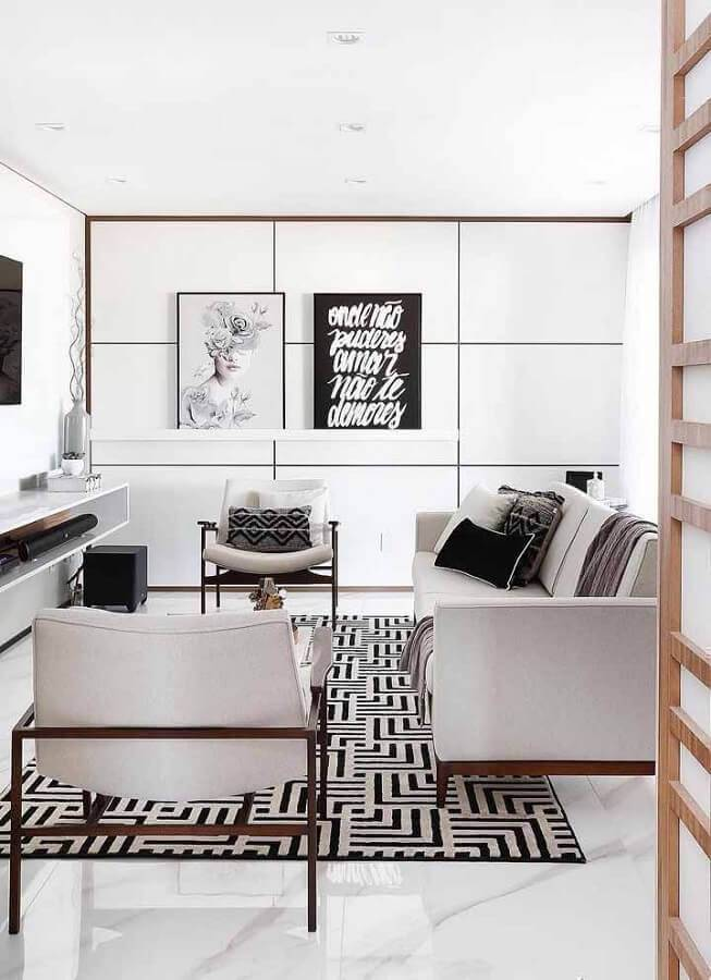 sala moderna decorada na cor branca Foto Cute & Paste