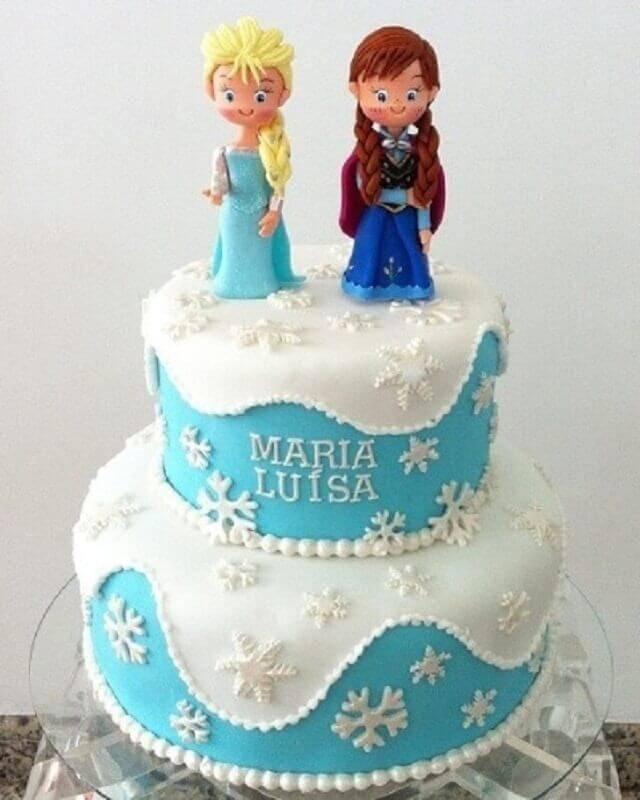 topo de bolo da frozen 2 andares Foto Happy Birthday World