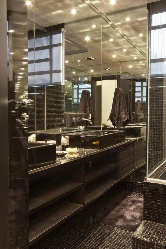 torneira para pia de banheiro - banheiro com decoração preta